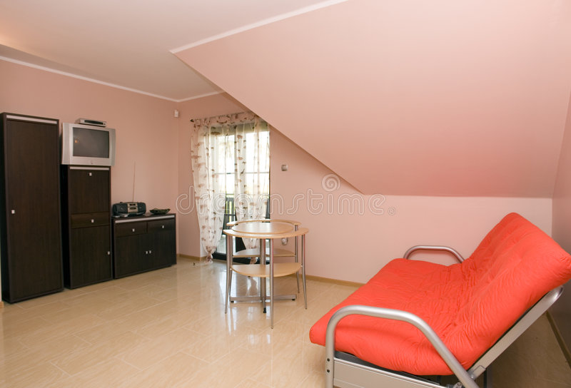 Room in wooden house stock image