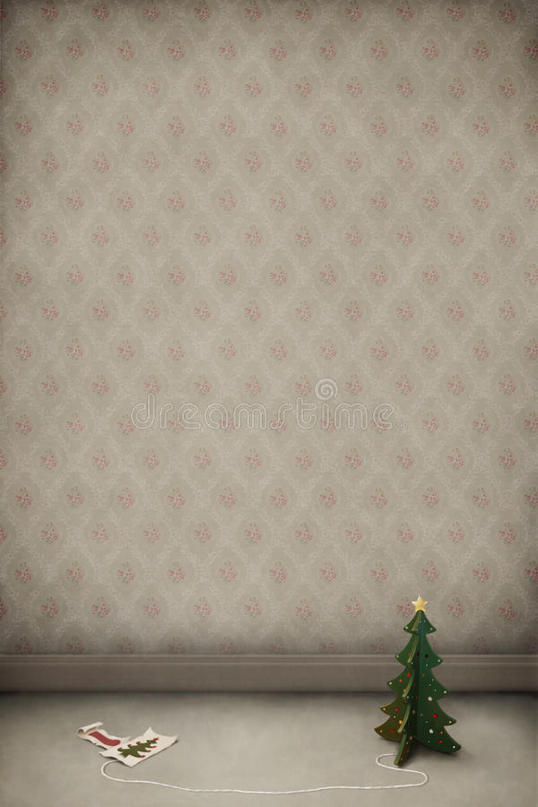 Room with a wooden toy Christmas tree and cards. stock illustration