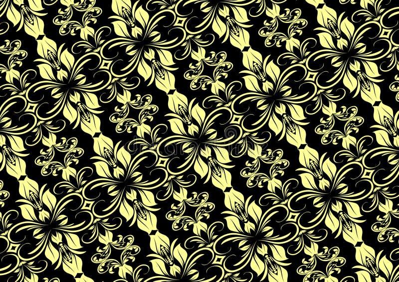 Room Zwart Naadloos Bloemenpatroon royalty-vrije illustratie