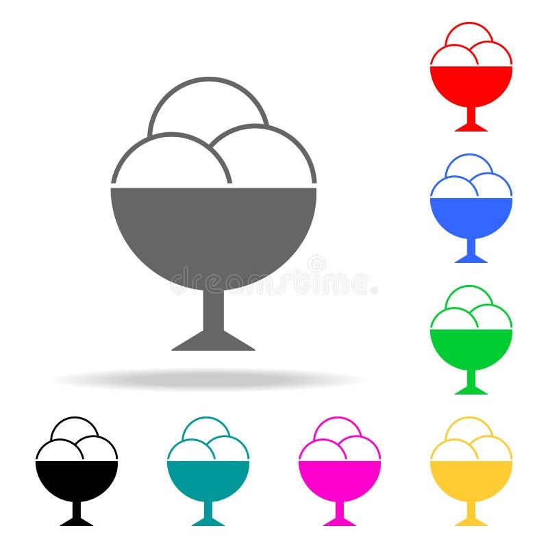 roomijs in een glaspictogram Elementen van partij multi gekleurde pictogrammen Grafisch het ontwerppictogram van de premiekwalite stock illustratie