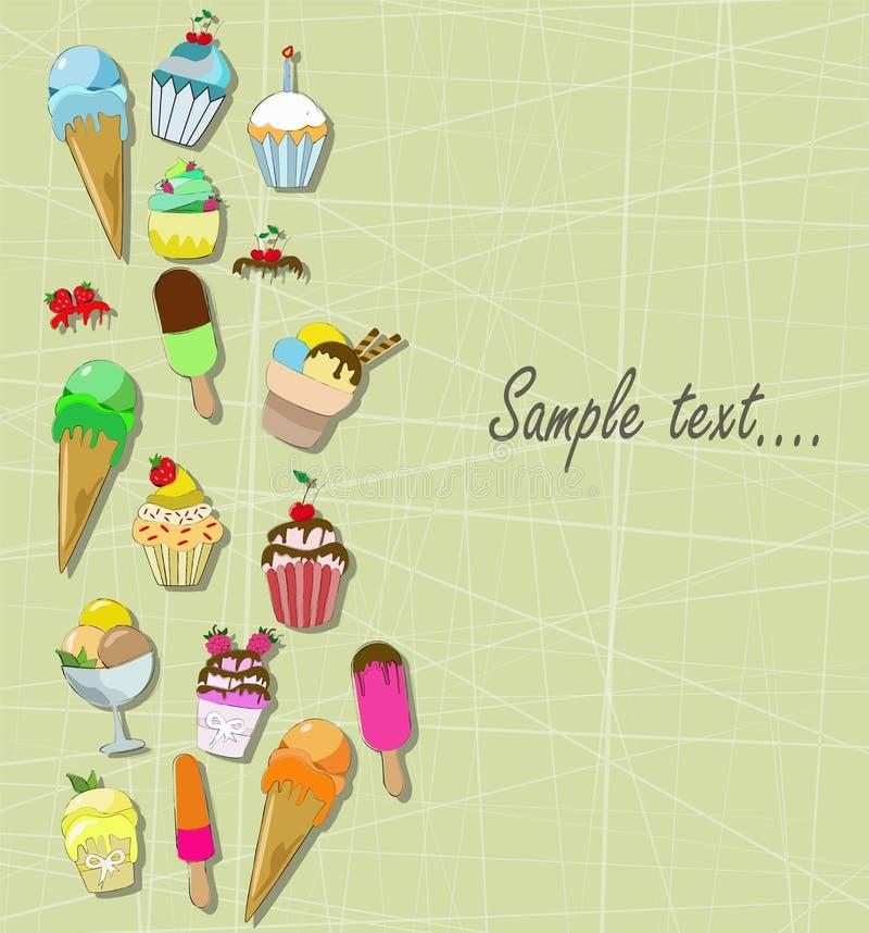 Roomijs en cupcakes stock illustratie