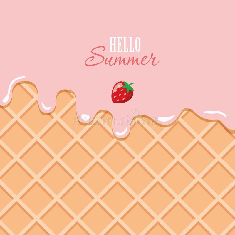 Roomijs macrotextuur Gesmolten roze room op wafeltjeachtergrond Hello-de zomercitaat royalty-vrije illustratie
