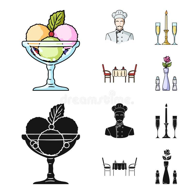 Roomijs met fruit, chef-kok, kaars en glazen, een behandelde lijst Pictogrammen van de restaurant de vastgestelde inzameling in b royalty-vrije illustratie