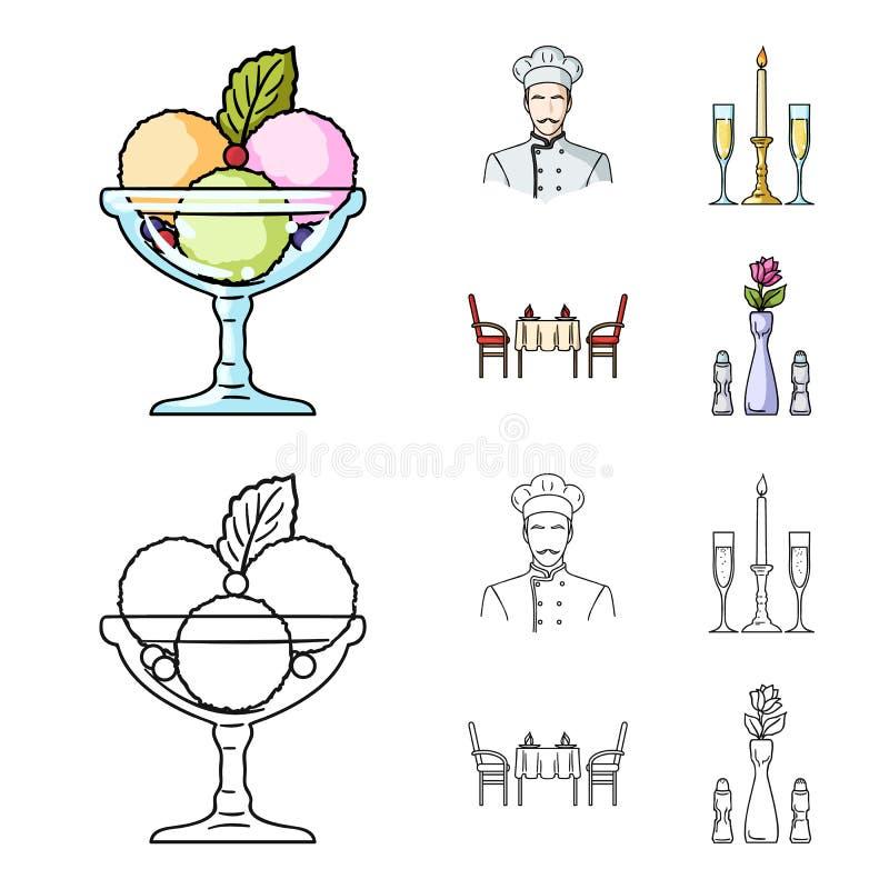 Roomijs met fruit, chef-kok, kaars en glazen, een behandelde lijst Pictogrammen van de restaurant de vastgestelde inzameling in b vector illustratie