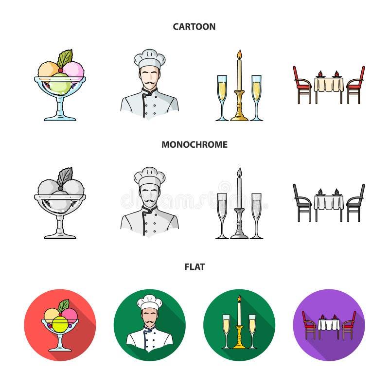 Roomijs met fruit, chef-kok, kaars en glazen, een behandelde lijst Pictogrammen van de restaurant de vastgestelde inzameling in v royalty-vrije illustratie