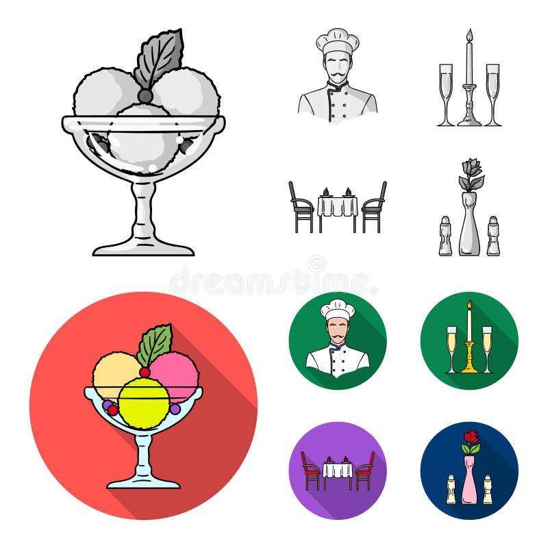 Roomijs met fruit, chef-kok, kaars en glazen, een behandelde lijst Pictogrammen van de restaurant de vastgestelde inzameling in z stock illustratie