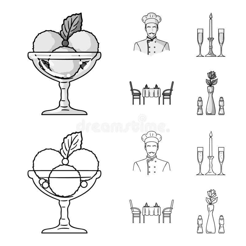 Roomijs met fruit, chef-kok, kaars en glazen, een behandelde lijst Pictogrammen van de restaurant de vastgestelde inzameling in z royalty-vrije illustratie