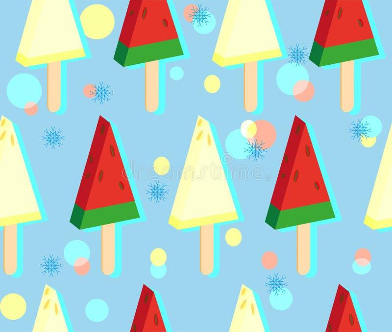 Roomijs van watermeloen en meloen op stok Kleurrijk naadloos patroon op koude blauwe achtergrond met sneeuwvlokken stock illustratie