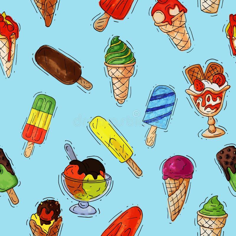 Roomijs vector ijzig room of roomijs in kegel met chocolade en vanille en bevroren roomkandessert op lepelillustratie stock illustratie