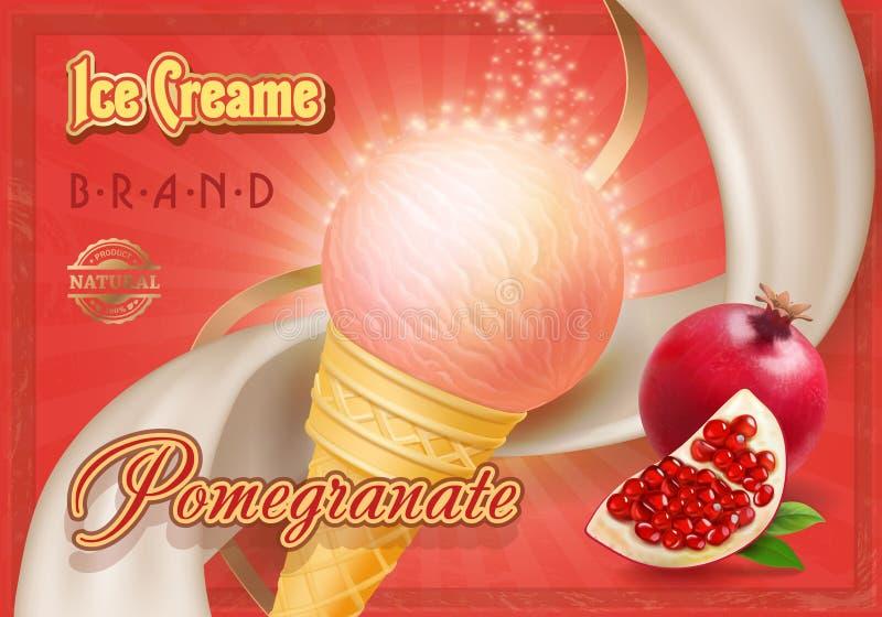 Roomijsadvertenties, een kegel van het ijs van de premiegranaatappel creame in 3d illustratie op scharlaken achtergrond stock illustratie