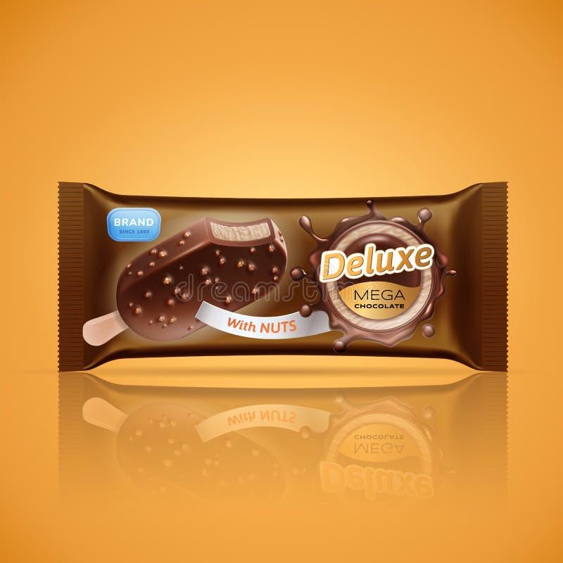 Roomijsbar verpakkingsontwerp dat op oranje achtergrond wordt geïsoleerd Vectorroomijs in chocoladeglans of saus met knapperig royalty-vrije illustratie