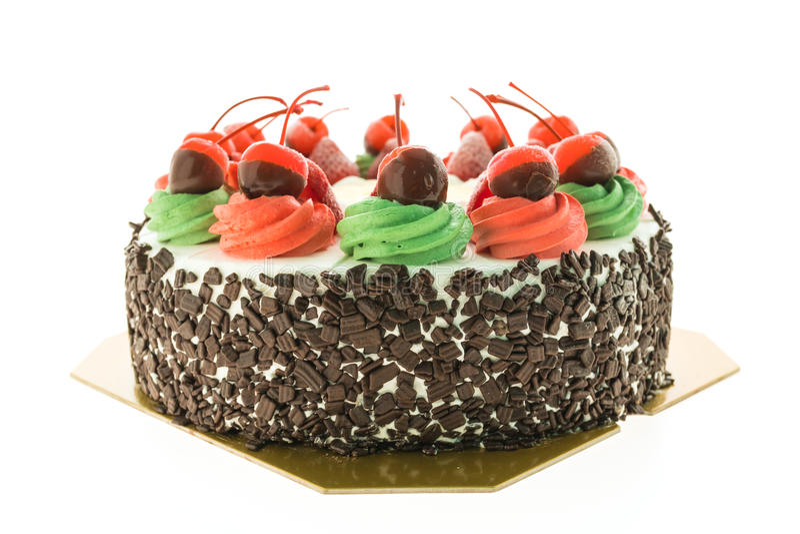 Roomijscake met Kerstmisthema en vrolijk op bovenkant royalty-vrije stock fotografie