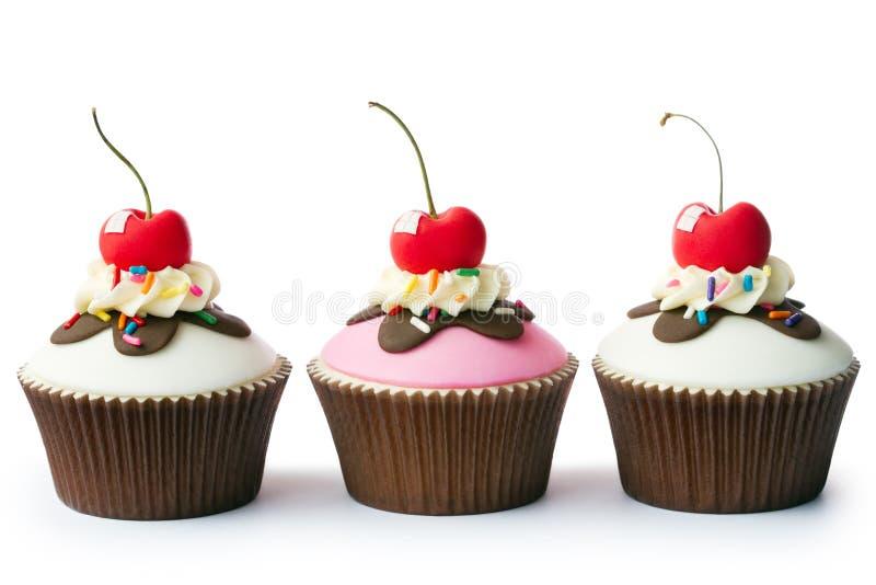 Roomijsijscoupe cupcakes royalty-vrije stock afbeeldingen