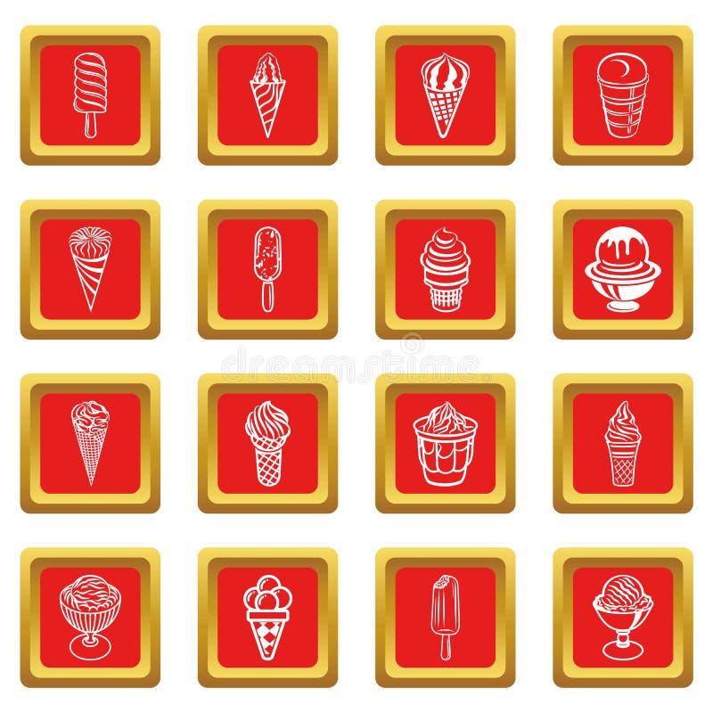 Download Roomijspictogrammen Geplaatst Rode Vierkante Vector Vector Illustratie - Illustratie bestaande uit restaurant, lollie: 114226309