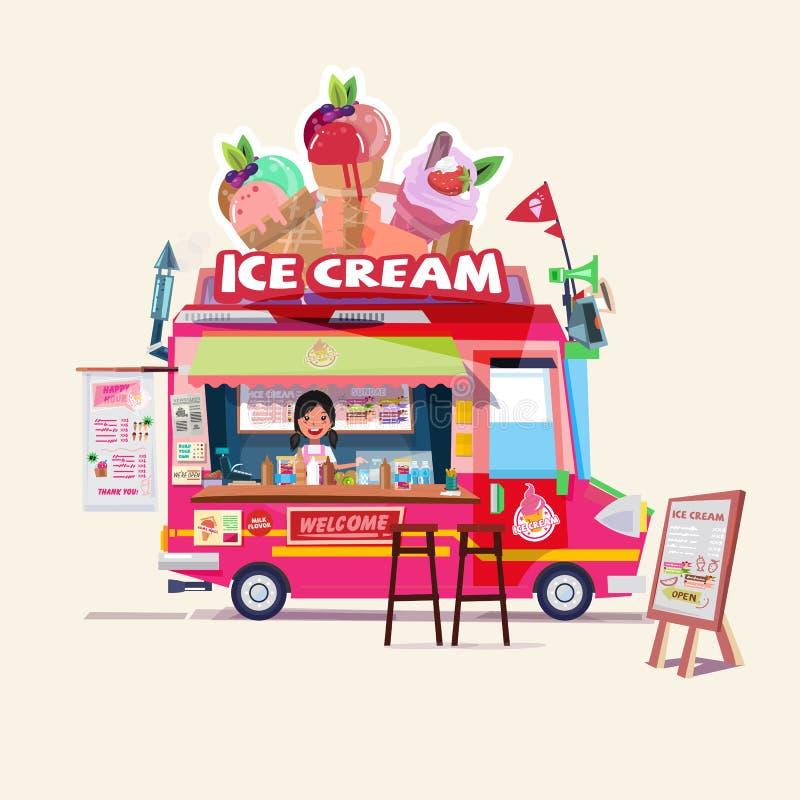 Roomijsvrachtwagen met leuke verkoper het concept van de voedselvrachtwagen - stock illustratie