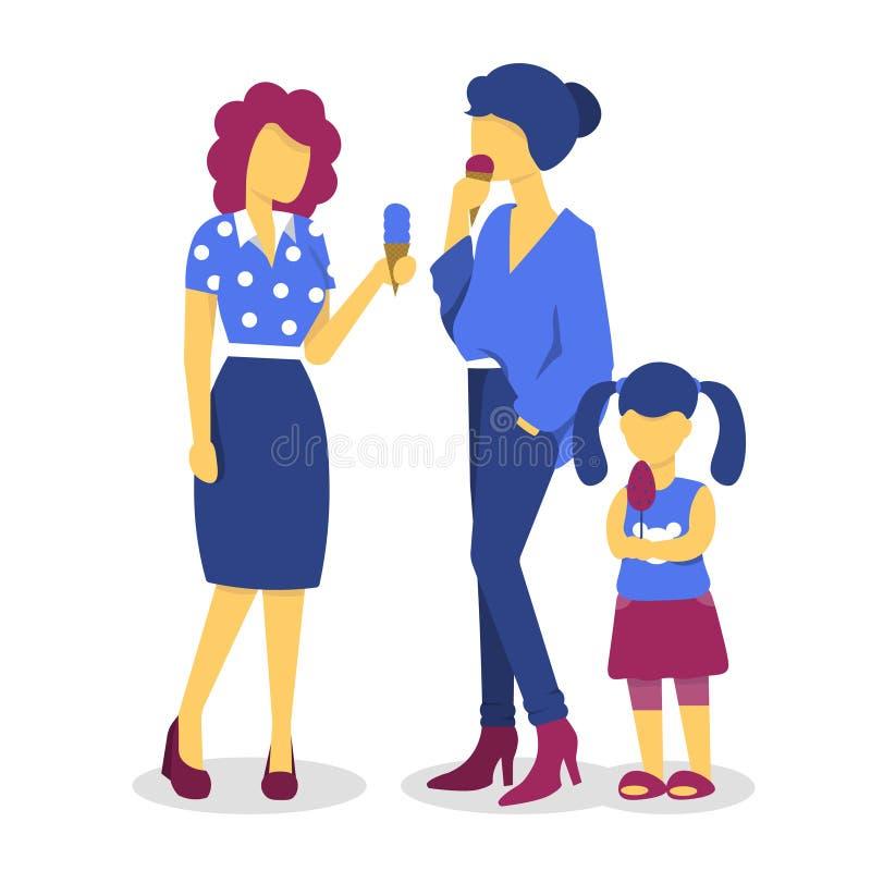 Roomijsvrouwen en kindmeisje vector illustratie