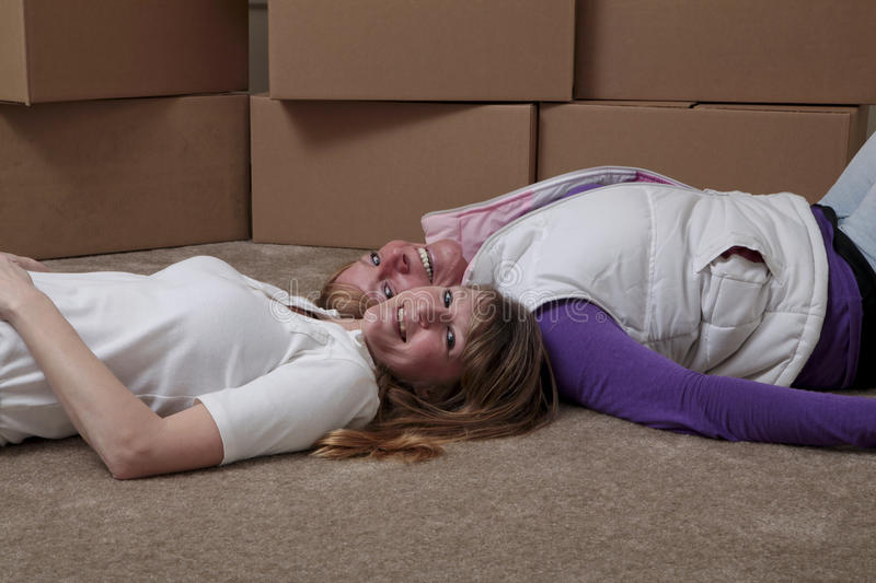 Download Roommates moving stock image. Image of friend, crate - 14390093