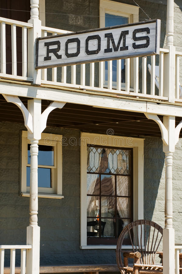 Rooms available. Sign for available rooms in the old western hotel royalty free stock photography