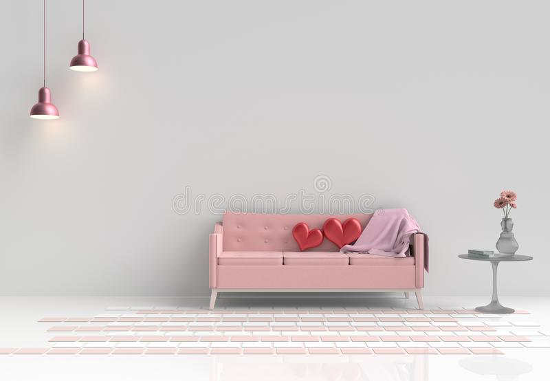 Rooms of Love on Valentine`s Day. Background and interior. 3D rende. Two red hearts on pink sofa in white living room decor with tree,pillows, pink lamp, glass royalty free stock photography