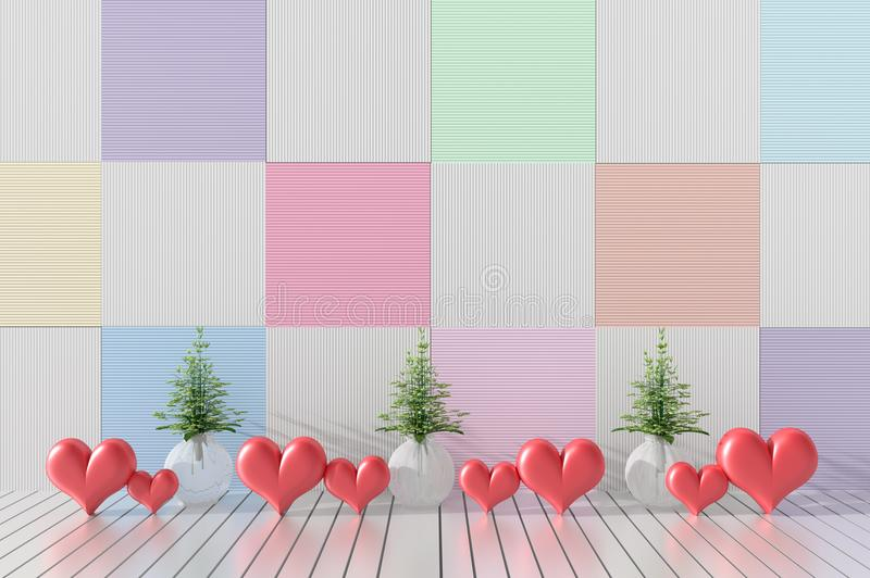 Rooms of Love on Valentine`s Day. Background and interior. 3D render. vector illustration