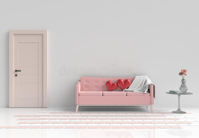 Rooms of Love on Valentine`s Day. Background and interior. 3D render. royalty free illustration