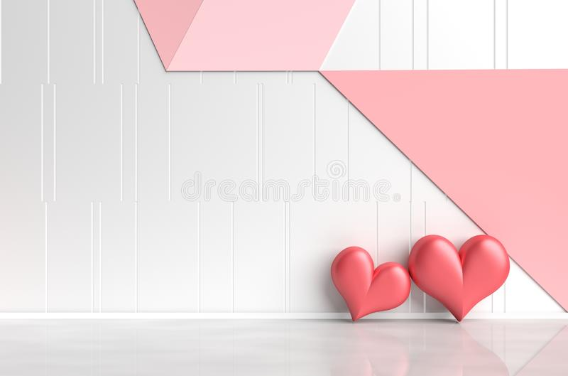 Rooms of Love on Valentine`s Day. Interior design and background. 3d render. vector illustration