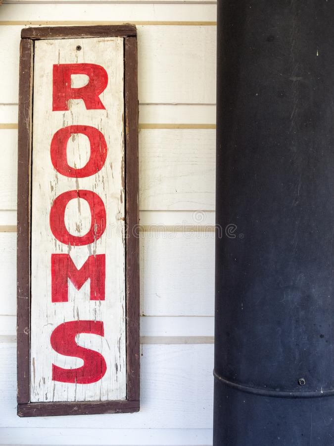 Rooms to rent. Sign on old hotel, rooms for rent stock images