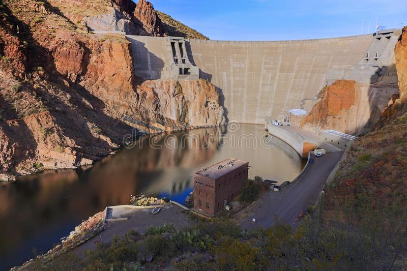 Roosevelt Dam Apache Trail Superstition-Bergen Arizona de V.S. royalty-vrije stock foto