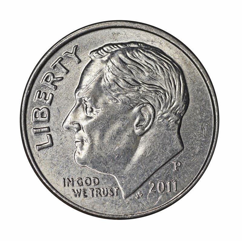 Roosevelt on dime stock photo