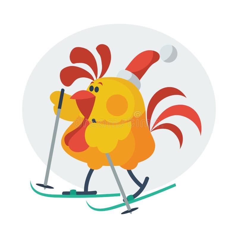 Rooster Bird Skate on Ski. in Santa s Hat stock illustration