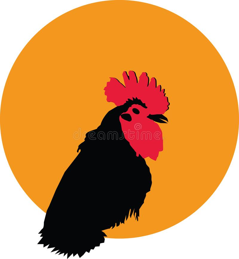 Rooster black silhouette portrait on yellow circle background logotype, vector stock illustration
