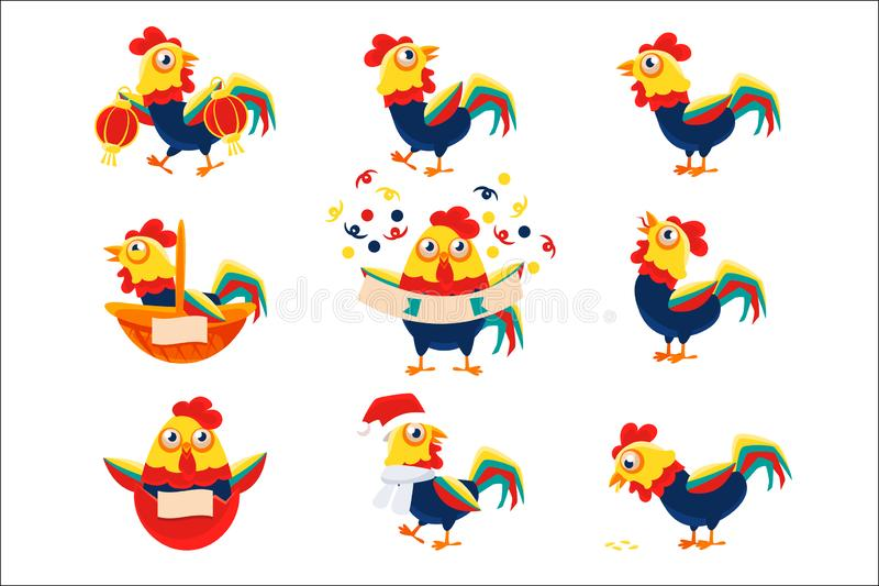 Rooster Cartoon Character Set With A Cock Representing Chinese Zodiac Symbol Of New Year 2017 vector illustration