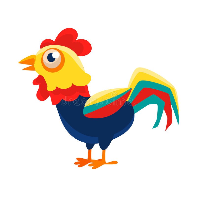 Rooster Cartoon Character Standing Calm,Cock Representing Chinese Zodiac Symbol Of New Year 2017. Asian Astrologic Yearly Mascot Animal Vector Flat vector illustration