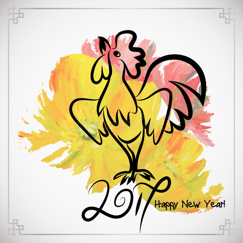 Rooster Chinese New Year Design Graphic Stock Vector - Illustration ...