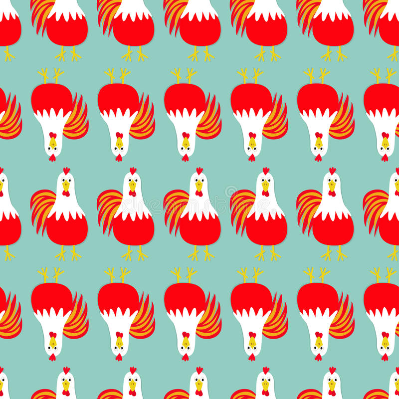 Rooster bird. Seamless Pattern line. 2017 Happy New Year symbol Chinese calendar. stock illustration