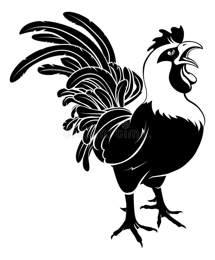 Rooster cockerel crowing. An illustration of a proud rooster cockerel chicken crowing royalty free illustration