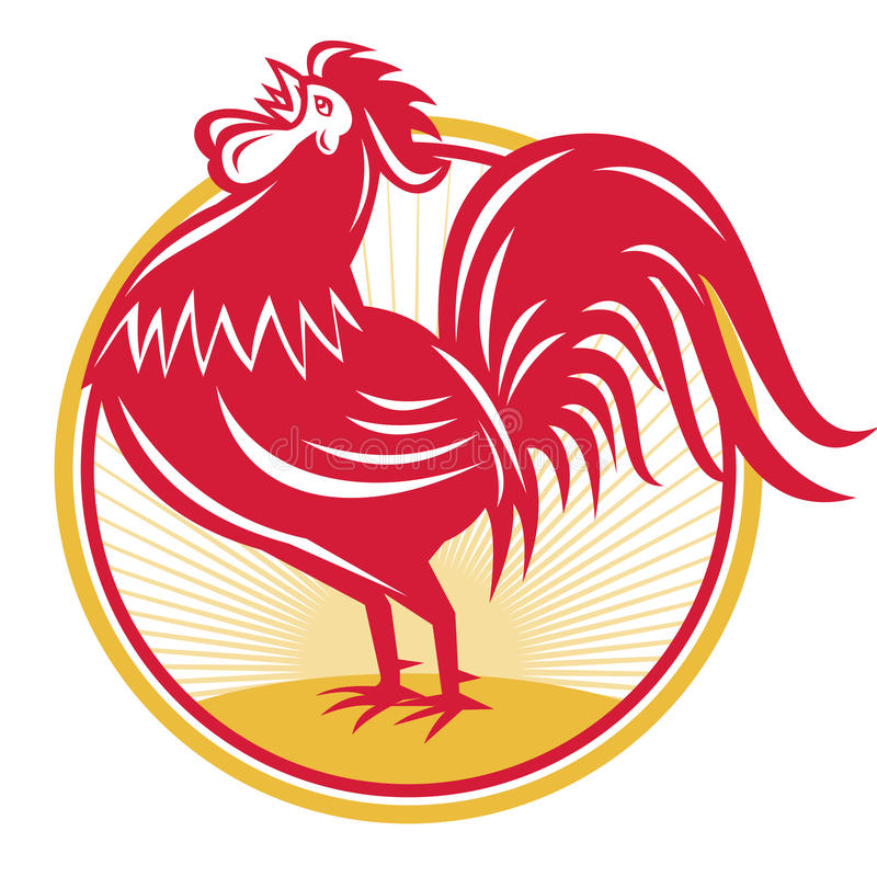 Rooster Cockerel Crowing Retro. Illustration of a rooster cockerel crowing facing side set inside circle done in retro style stock illustration