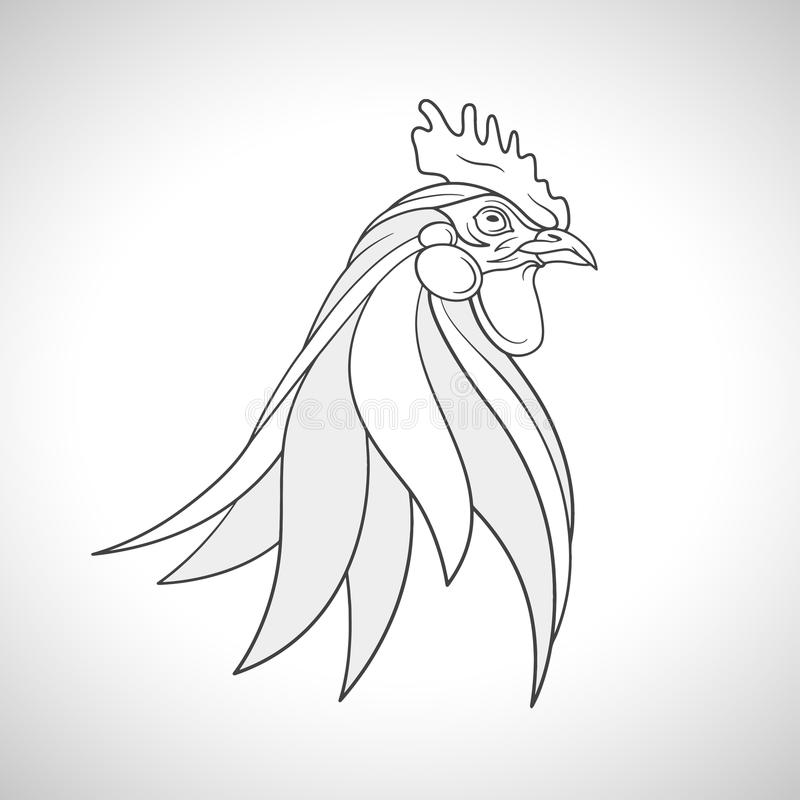 Rooster cockerel head portrait. Chinese Zodiac emblem of 2017. Vector illustration. Line drawing of a farm bird - rooster cockerel head portrait. Chinese Zodiac royalty free illustration