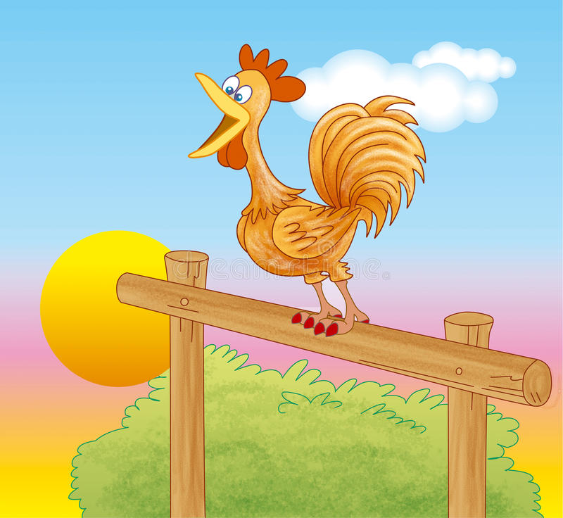 Rooster crowing at dawn stock illustration. Illustration ...