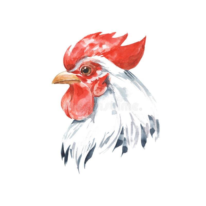 rooster 2 för flygillustration för näbb dekorativ bild dess paper stycksvalavattenfärg bakgrund isolerad white royaltyfri illustrationer