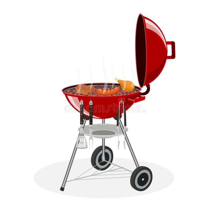 Rooster grill Picknick het kamperen het koken royalty-vrije illustratie