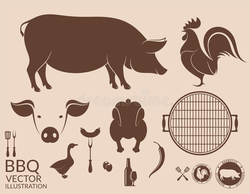 Rooster grill Varken kip stock illustratie