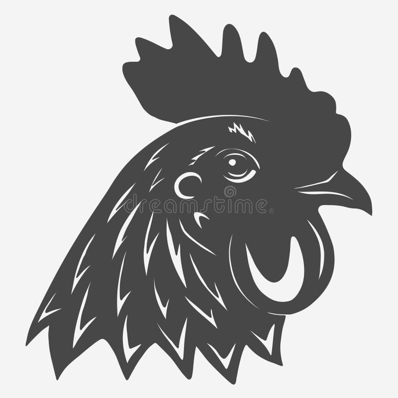 Rooster head icon. Silhouette, chicken farm emblem. Cockerel hand drawn. Vector stock illustration