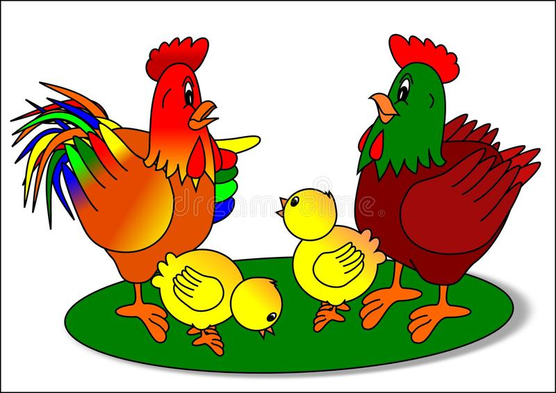 Rooster Hen And Chicks Stock Vector. Illustration Of