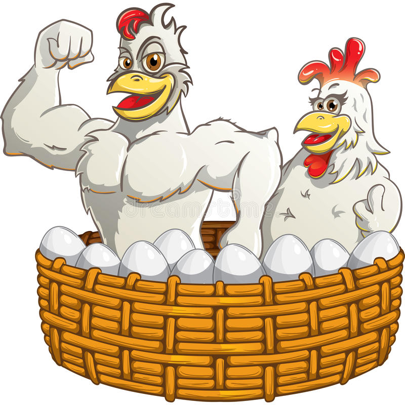Rooster, hen, eggs in the basket. Vector bird characters. royalty free stock image