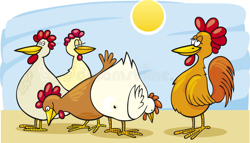 Download Rooster and hens stock vector. Image of witty, vector - 9018627