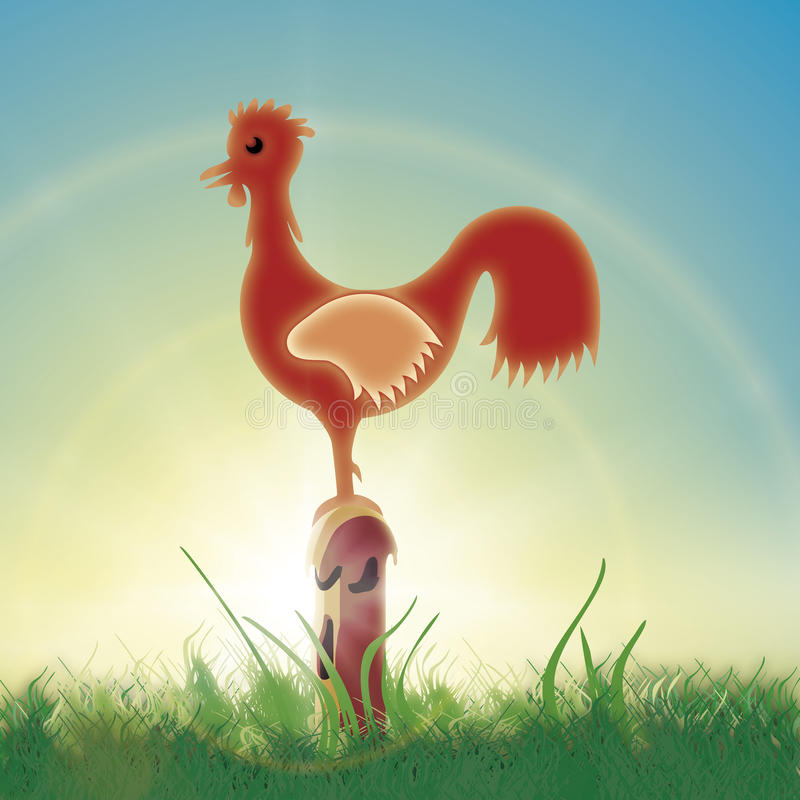 Download Rooster morning stock illustration. Image of rural, grass - 14066926