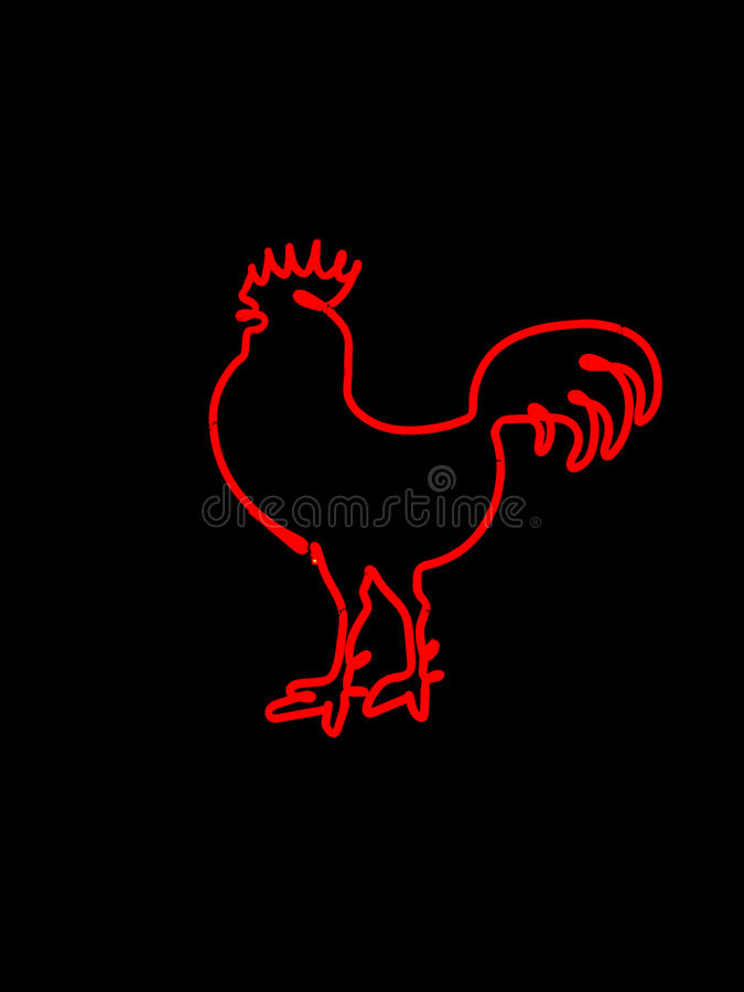 Rooster Neon Sign stock images