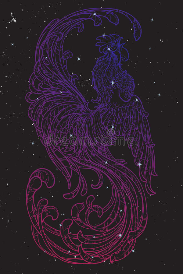 Rooster on nightsky background stock illustration