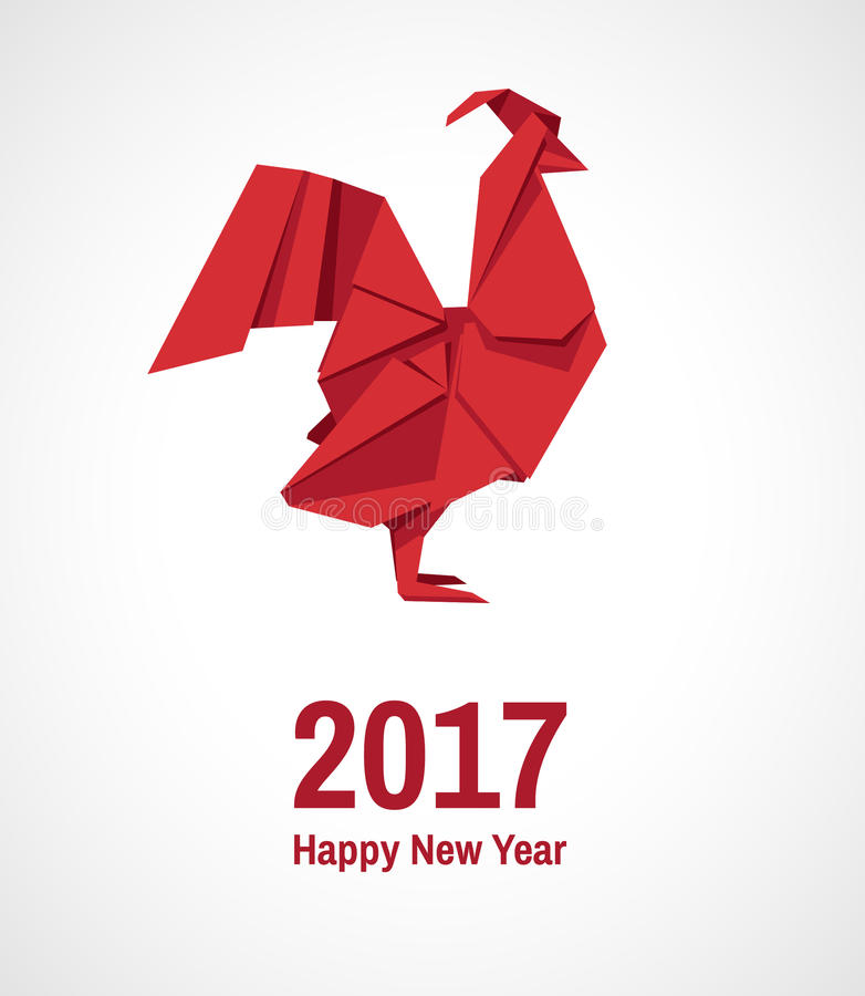 Rooster origami. Vector illustration of rooster, symbol of 2017 on the Chinese calendar. Vector image of an origami red rooster vector illustration